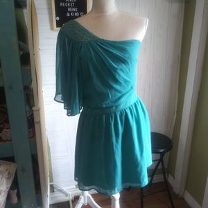 Green mini dress, one sleeve super cute bedazzled